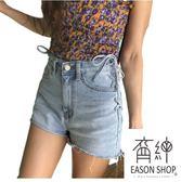 EASON SHOP(GU6515)側邊交叉綁帶繫帶子水洗淺藍高腰牛仔短褲女熱褲韓版寬鬆毛邊抽鬚撕邊包臀A字褲