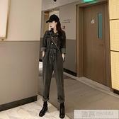 復古牛仔褲女春季2020新款雙排扣chic高腰闊腿褲工裝連身褲長褲子 夏季新品
