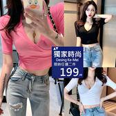 克妹Ke-Mei【AT53758】獨家chic韓妞最愛深V爆乳修身T恤上衣