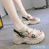 厚底涼鞋運動涼鞋女新款夏季增高網紅超火時尚百搭厚底鬆糕女鞋潮 快速出貨