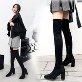 秋冬新品顯瘦過膝靴長靴瘦腿彈力靴女黑色尖頭粗跟高跟高筒長筒靴高跟鞋推薦LD