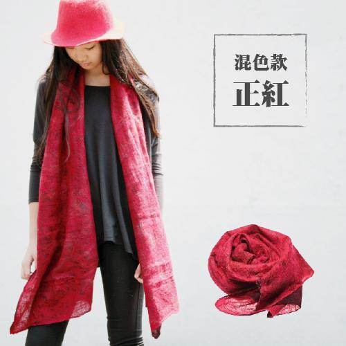 【小羊苗庇護工場】羊毛蠶絲圍巾(正紅款)