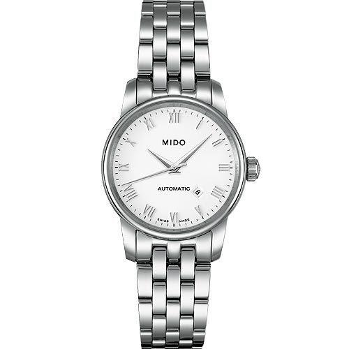 MIDO 美度 Baroncelli 雅典女神機械鋼帶手錶-銀 M76004261