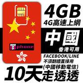 【TPHONE上網專家】中國移動 10日 4GB大流量 4G高速上網 香港可用 不須翻牆 FB/LINE直接用