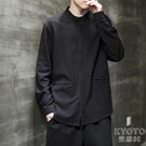 中國風男裝棉麻黑色襯衫男秋季新款中式唐裝百搭亞麻休閒長袖 【快速出貨】