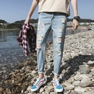 FINDSENSE H1 2018 夏季 潮男  青春個性 破洞 小腳 牛仔褲