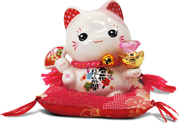 【金石工坊】春花朵朵開幸福貓-粉水晶(高9CM)招財貓 陶瓷開運桌上擺飾 撲滿存錢筒