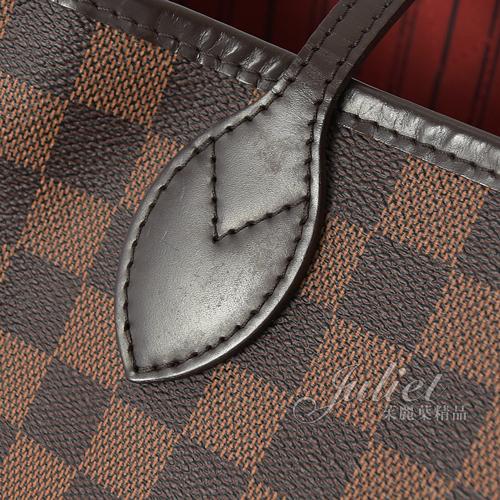 茱麗葉精品 二手精品【9成新】Louis Vuitton LV N51106 Neverfull 棋盤格紋縮口購物包