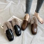 英倫小皮鞋女加絨款小跟毛毛鞋季一腳蹬日系jk棉鞋子 完美情人館