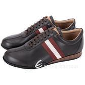 BALLY FRENZ 經典織帶拼接牛皮綁帶休閒鞋(深咖啡色) 1530075-C7