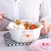 快速出貨-日式圓形陶瓷飯盒創意學生卡通保鮮碗分隔密封盒微波爐分格便當盒