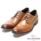 CUMAR 歐風品味 時尚綁帶牛皮皮鞋-棕色