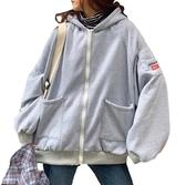 EASON SHOP(GW7508)實拍字母刺繡多口袋連帽長袖外套長版OVERSIZR刷毛加絨加厚前拉鍊落肩寬鬆素色棉