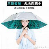 雙層頭戴式頭戴傘雨傘帽超輕斗笠折疊雨傘成人釣魚傘帽傘卡通遮陽  YXS娜娜小屋