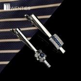深海藍色領帶夾 男士鑲嵌水鉆領夾簡約韓版商務職業夾子