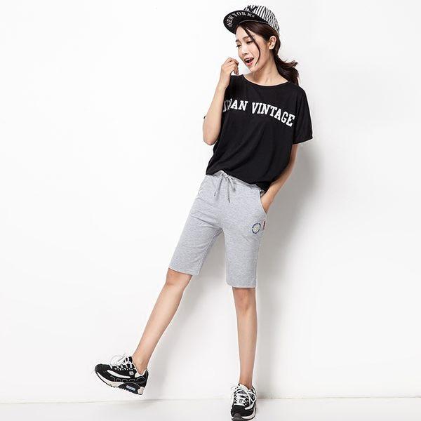 夏季薄款純棉運動短褲女休閒五分褲大碼寬鬆運動中褲跑步闊腿短褲