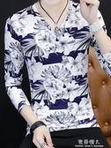 青年花色T恤衫花紋圖案上衣男秋裝長袖碎花v字領短袖t桖薄夏 完美情人精品館