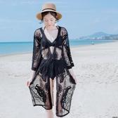 防曬衣 太陽花刺繡網紗蕾絲薄外套女泰國度假風中長款開衫防曬衣泳衣罩衫