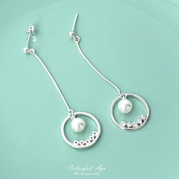 銀飾 珍珠水鑽垂墜耳針耳環NPD152