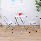 折疊桌椅組[耐重圓形1桌2椅]餐桌椅 洽談桌椅 會議桌椅(深胡桃/白色)XR-079+2椅