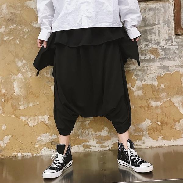 FINDSENSE品牌 2019春季 新款 韓國 嘻哈 九分褲  寬鬆 純色 休