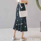 魚尾裙雪紡碎花半身裙女夏中長款a字學生適合胯大腿粗的裙子長裙