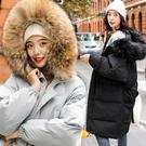 2019冬裝新款棉衣女 長款過膝韓版加厚大尺碼羽絨棉服 加絨過膝外套 大毛領外套