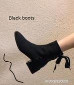 襪靴 ins網紅瘦瘦靴女2020新款靴子小跟鞋百搭春秋連襪粗跟彈力短靴潮 傑克