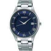 SEIKO精工SPIRIT簡約羅馬太陽能鈦金屬腕錶  V157-0CZ0B SBPX115J 藍色