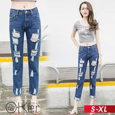 個性時尚毛邊破洞九分牛仔褲 S-XL O-ker歐珂兒 16055