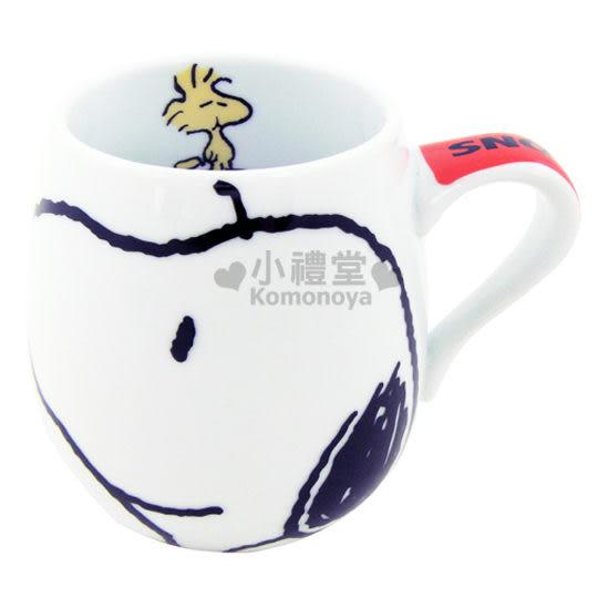 〔小禮堂〕Snoopy 史努比 胖胖馬克杯《白.史奴比大臉》也可當湯杯 4979274-87708