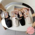 穆勒鞋 側邊素面扭轉皮革 懶人鞋 涼鞋 拖鞋*KWOOMI-A45