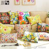 全棉帆布植物花卉沙發抱枕靠墊熱賣靠枕套辦公室車用靠背墊 七夕禮物中秋禮物