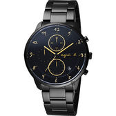 agnes b. 法國時尚三眼計時腕錶-黑x金時標/40mm VD57-KY30G(BM3019J1)