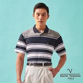 【Emilio Valentino】涼感機能層次橫條紋PLO衫 - 灰藍白