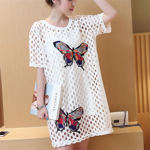 【Fabulous!!】簍空洞洞蝴蝶飛呀刺繡連身裙(大碼 孕婦裝 都可穿)