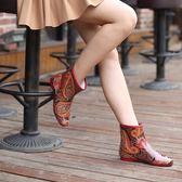 【新年鉅惠】短筒時尚成人橡膠防滑雨鞋女 秋冬加棉保暖平跟雨靴韓版加絨水鞋