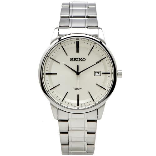 SEIKO Classic 精工雅痞經典男性手錶(SGEH07P1)-淡黃色面X銀色/42mm