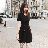 ol洋裝 赫本小黑裙ol短袖春夏復古洋裝小西裝裙職業氣質收腰顯瘦a字裙 格蘭小舖
