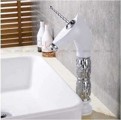 【白銀 高款】獨角獸水龍頭冷熱全銅面盆台上盆歐式馬頭水龍頭