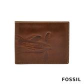 FOSSIL DANNY 飛機壓紋真皮證件格零錢袋男夾-咖啡色 ML4084201