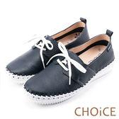 限時特賣-CHOiCE 舒適渡假休閒 牛皮縫線休閒包鞋-藍色