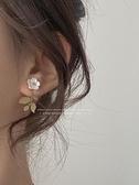 雙戴法 貝殼花朵耳釘金屬樹葉耳環日常簡約百搭森系耳飾女 智慧e家
