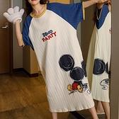卡通老鼠印花直條布家居服洋裝-中大尺碼 獨具衣格 J3668