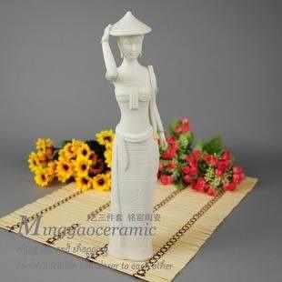 陶瓷器 家居裝飾傣族斗笠少女