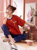 睡衣女夏短袖長褲純棉寬鬆薄款春夏季少女可愛半袖兩件套裝家居服