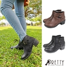 B-29375 女款粗跟短靴 台灣製雙皮帶釦飾側拉鍊粗中跟短靴【PRETTY】