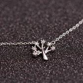 項鍊 925純銀 鑲鑽吊墜子-小樹造型生日情人節禮物女飾品73as11[時尚巴黎]