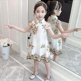 民族女童裙 女童夏季新品 時尚旗袍紗裙 中大童兒童繡花連衣裙 夏季女童時尚連衣裙