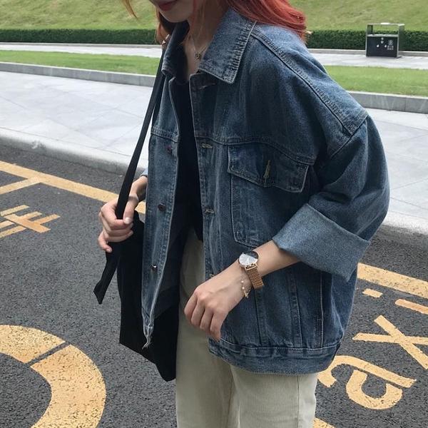 現貨特價# 網紅牛仔褂秋新款韓版短款寬松bf風牛仔衣服女大碼胖MM外套女